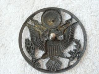 US Air Force Sterling Silver Eagle Crest Insignia Hat Badge Pin