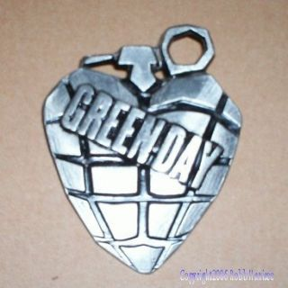 Green Day Pewter Grenade Logo Belt Buckle