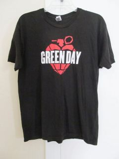 Green Day Red Heart Grenade Black Concert T Shirt Short Sleeve Tee L