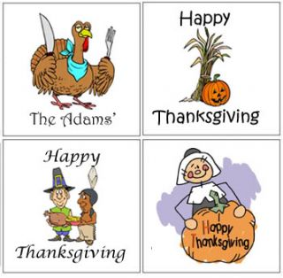 12 Thanksgiving Party Gift Stickers Labels Favors Tags