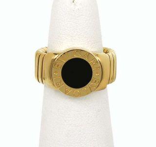 Designer Bvlgari 18K Gold Onyx Ladies Band Ring