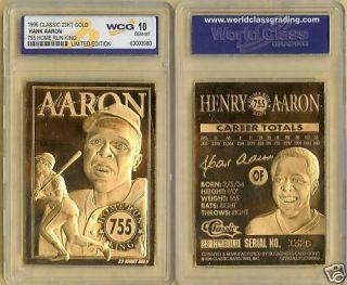 1996 Hank Aaron MVP 755 Home Run King 23 KT Gold Card