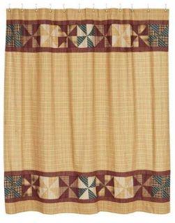 Gold Wine Blue Green Pinwheel Plaid Shower Curtain