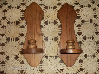 Pair of Handcrafted Solid Oak Wood Wall Hanging Sconces Candle Holders