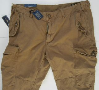 NEW POLO RALPH LAUREN KHAKI PARACHUTE MILITARY CARGO POPLIN PANTS 36