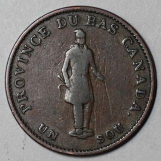 1837 Province Du Bas Canada 1 2 Copper Penny Bank Token Concordia