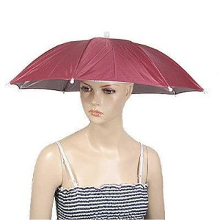 Umbrella Hat Golf Fishing Camping Headwear Cap Red