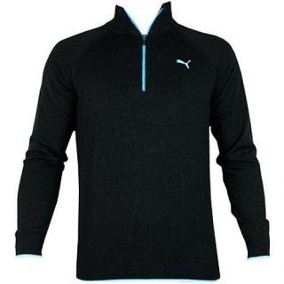 New Puma Mens Golf Solid 1 4 Zip Sweater Black Blue Size Medium