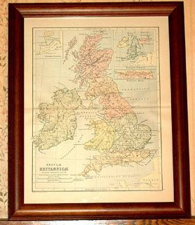 Britain Authentic Antique Map in Latin Ireland Genuine 115 yrs Old