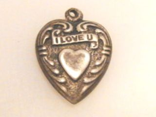 Vintage Sterling Silver I Love You Puffy Heart Charm