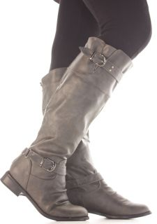 Womens Grey Riding Style Biker Ladies Flat Knee High Boots Size 3 4 5
