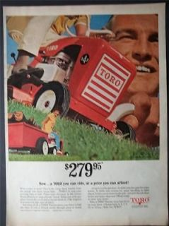 1967 Toro 4 HP Lawn Tractor Mower Photo Vintage Print Ad