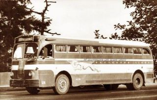 Greyhound Bus 1947 Repro Greeting Card frm Postcard