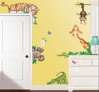 Nursery Bath Decor Peel N Stick Stickers Giraffe Zebra Monkey