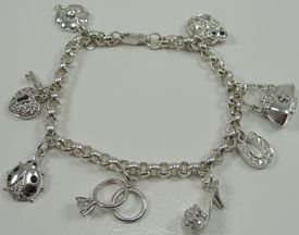 Sterling Silver Good Luck Charm Bracelet Rolo Chain Colored Diamonique