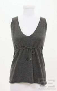 Brunello Cucinelli for Bergdorf Goodman Grey Cashmere Sleeveless Top