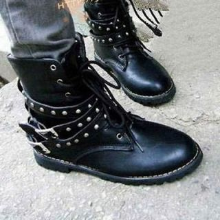 Womens Combat Round Toe Low Heel Military Lace Up Mid Calf With
