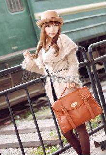 MQ Womens Girls PU Leather School Messenger Shoulder Bag Handbag Camel