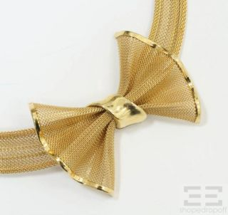 Givenchy Vintage 2pc Gold Tone Mesh Bow Necklace & Jeweled Clip On