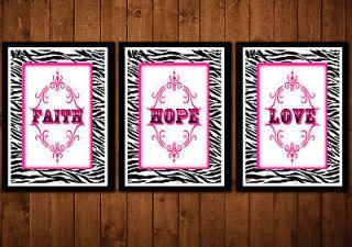 pink and Zebra print nursery live love quote wall decor art girls room