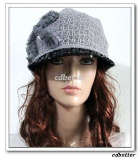 Womens Lady Grace Fabric Sof Syle Black Bling Brim Gray Has Caps