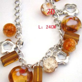 A0226 Wedding Glass Crystal Bead Flower Link Bracelet