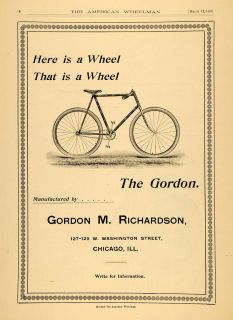 1896 Ad Gordon M. Richardson Chicago Bicycles Tire Wheels Bike Parts