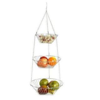 RSVP Chrome 3 Tier Hanging Wire Metal Basket Fruit Vegetable Kitchen