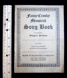 Crosby Memorial Song Book of Gospel Hymns Protestant Hymnal