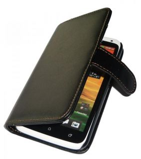 Premium Wallet Leather Case for HTC ONE X / ONE XL Cover + Free Screen