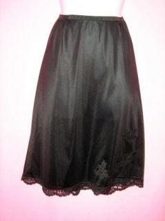 Vintage Gossard Artemis Black Half Slip w Appliqued Lace Large 25L