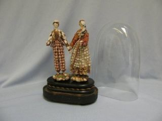 Antique Peg Wooden Man Woman c1840 SHELL DOLLS in original GLASS DOME