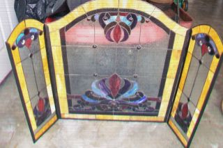 Beautiful Tiffany Style Stained Glass Fireplace Screen
