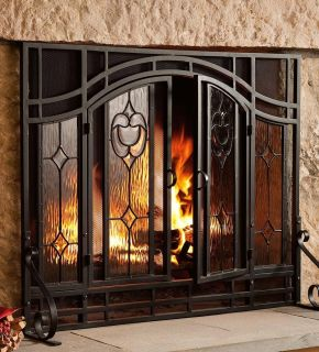 Floral Beveled Glass 2 Door Fire Place Screen 44w x 33H Black Steel