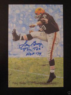 JSA Lou Groza Signed Cleveland Browns Goal Line Art Card