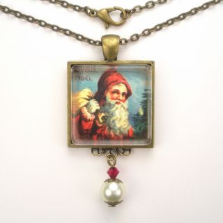 Claus Art Glass Pendant Brass Necklace Vintage Charm Jewelry