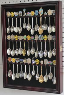 36 Spoon Display Case Rack Holder Wall Cabinet Glass Door Solid Wood