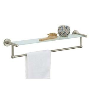 Satin Nickel Glass Wall Shelf w Metal Towel Rack Bar