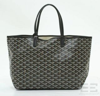 Goyard Black Chevron Coated Canvas Saint Louis PM Tote Bag NEW