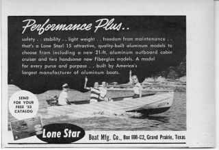 1953 Vintage Ad Lone Star Boats Grand Prairie Texas