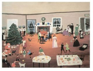Grandma Moses Print Christmas at Home