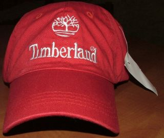 Timberland Red White Slouch Mens Baseball Cap Hat