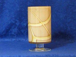 Pier 1 Art Glass Tall Candle Holder Candleholder Tan