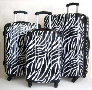 Piece Luggage Set Hard Rolling 4 Wheels Spinner Zebra