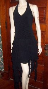 Asymmetrical Black Ruffle Halter Dress Perfect for Zombie Costume Size