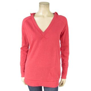 Hang Ten Heathered Red V Neck Pullover Hoodie Distressed Look Cotton