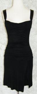 VELVET GRAHAM & SPENCER Black Beaded Strap Ruched Dress P Soft Stretch