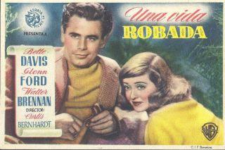 STOLEN LIFE Vintage 40 s Spain Poster Ad Herald BETTE DAVIS GLENN FORD