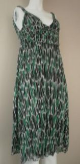 VON FURSTENBERG 100% Silk Mesh Green Black White Glenn Dress 4 S Small