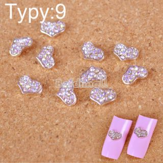 10pcs 3D Alloy Glitters Faux Tips Nail BE0D Nail Art Crystal